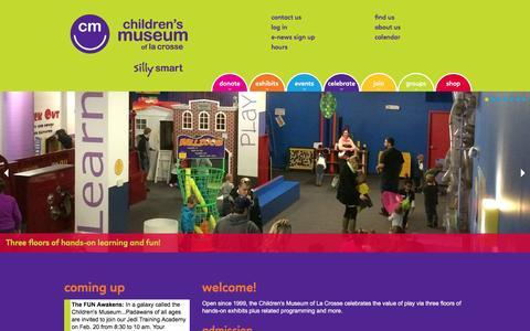 Screenshot of Home Page funmuseum.org - Children's Museum of La Crosse - captured Jan. 27, 2016