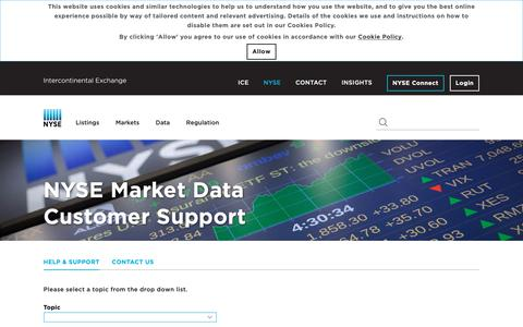 Screenshot of Support Page nyse.com - NYSE - captured March 20, 2019