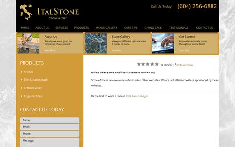 Screenshot of Testimonials Page italstonecanada.com - Testimonials | Vancouver Countertops - captured Oct. 6, 2014