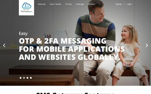 Screenshot of Home Page thetexting.com - SMS API messages for just $.0055, Best SMS Gateway | TheTexting.com - captured July 9, 2018