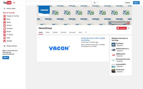 Screenshot of YouTube Page youtube.com - VaconGroup  - YouTube - captured Nov. 2, 2014