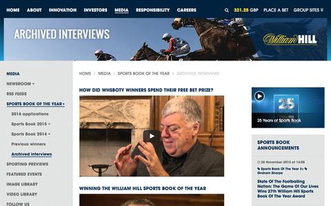 Screenshot of williamhillplc.com - William Hill PLC: Archived interviews                 - Sports Book of the Year                 - Media - captured Sept. 4, 2016