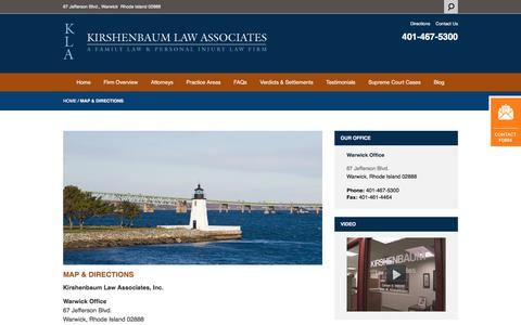 Screenshot of Maps & Directions Page kirshenbaumlaw.com - Directions To Our Office in Warwick, RI   Kirshenbaum Law Associates - captured Oct. 17, 2017