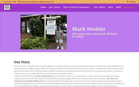 Screenshot of About Page ghostsofgettysburg.com - About Us - Mark Nesbitt's Ghosts of Gettysburg Tours - captured May 17, 2017