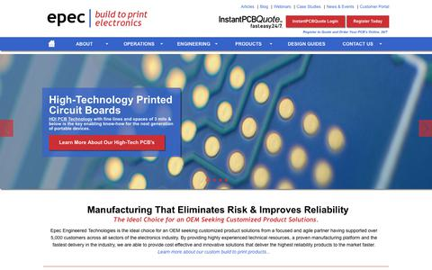 Screenshot of Home Page epectec.com - Manufacturing That Eliminates Risk and Improves Reliability | Epec - captured Sept. 28, 2018