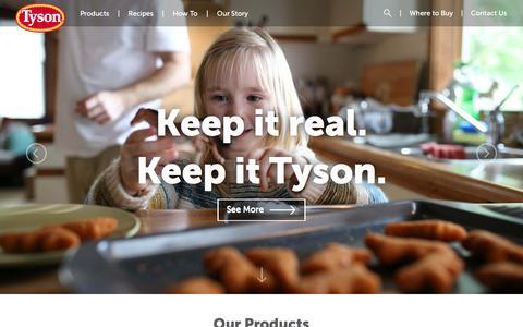 Screenshot of Home Page tyson.com - Tyson | Home - captured Dec. 4, 2016