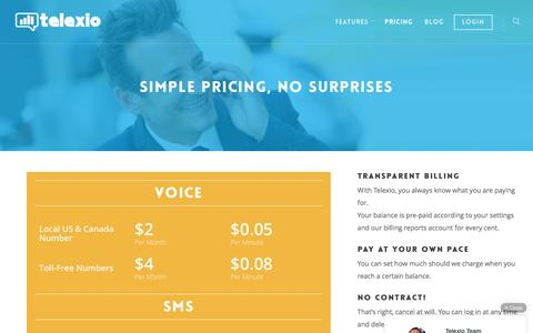 Screenshot of Pricing Page telexio.com - Telexio Call Tracking | Phone Number | SMS Pricing - captured Aug. 19, 2016