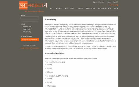 Screenshot of Privacy Page artprojecta.com - ART project A Privacy Policy - captured Sept. 30, 2014