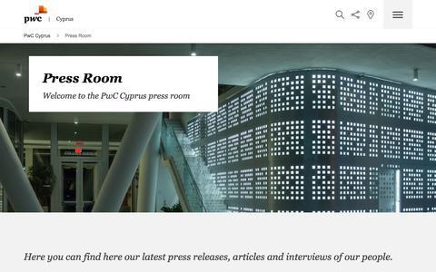 Screenshot of Press Page pwc.com.cy - Press Room - captured Oct. 16, 2017