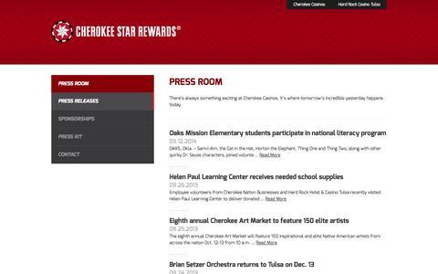 Screenshot of Press Page cherokeestarrewards.com - Press Releases - Press Room - Star Rewards - captured Oct. 2, 2014