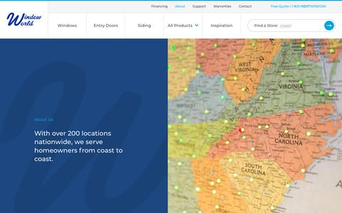 Screenshot of About Page windowworld.com - About Us | Window World - captured June 15, 2019