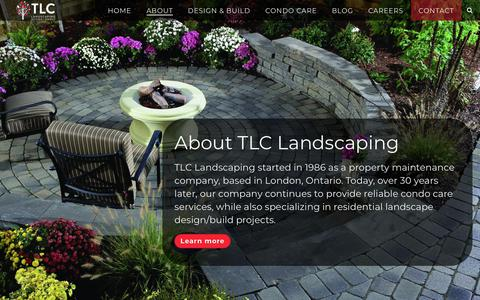 Screenshot of About Page tlc.ca - About TLC Landscaping | Award-Winning Landscapers in London - captured Oct. 18, 2018