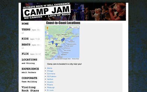 Screenshot of Locations Page campjam.com - Coast-to-Coast Locations | Camp Jam - captured Oct. 2, 2014