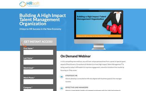 Screenshot of Landing Page hrsoft.com - Building A High Impact Talent Management Organization - captured Aug. 14, 2018