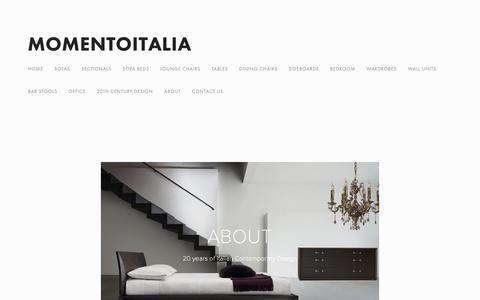 Screenshot of About Page momentoitalia.com - Modern Italian Furniture Stores NYC   Momentoitalia online boutique — Modern Italian Furniture   Momentoitalia - captured Nov. 14, 2018