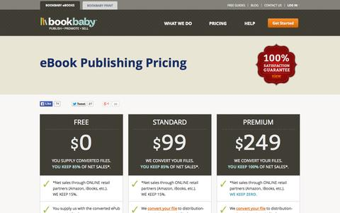 Screenshot of Pricing Page bookbaby.com - BookBaby eBook Pricing - captured Oct. 10, 2014