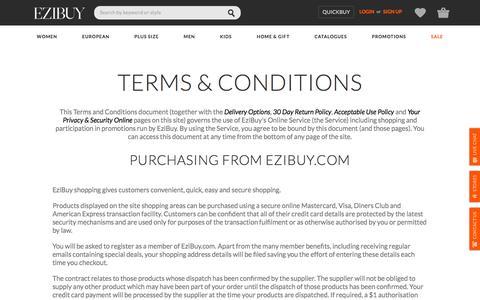Screenshot of Terms Page ezibuy.com - Legal | EziBuy NZ - captured July 18, 2016