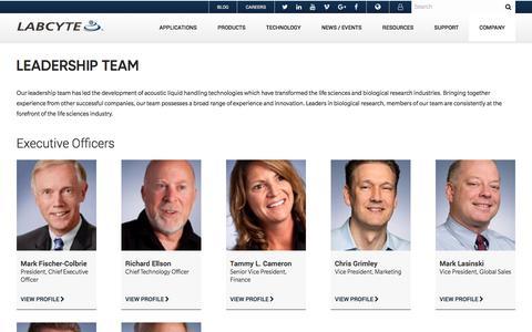 Screenshot of Team Page labcyte.com - Leadership Team   Labcyte Inc. - captured Jan. 12, 2018