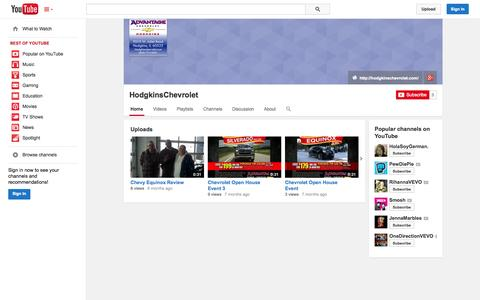 Screenshot of YouTube Page youtube.com - HodgkinsChevrolet  - YouTube - captured Oct. 23, 2014