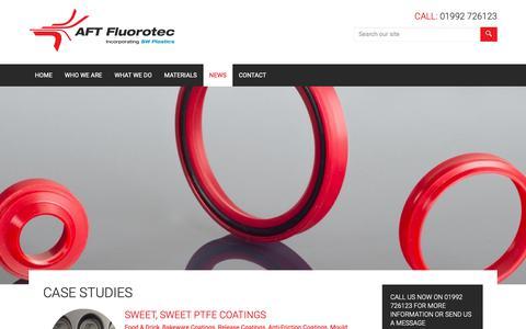 Screenshot of Case Studies Page fluorotec.com - Fluoropolymer Case Studies | AFT Fluorotec - captured Dec. 17, 2018