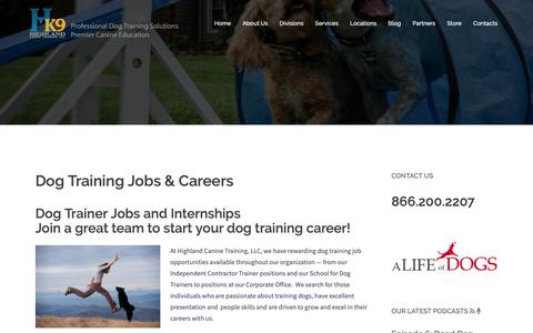 Screenshot of Jobs Page highlandcanine.com - Dog Trainer Jobs and Careers - Begin Your Career Working with Dogs - captured Sept. 28, 2018