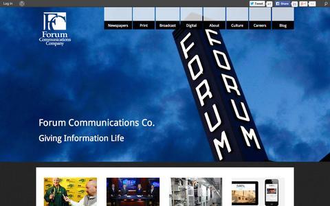 Screenshot of Home Page forumcomm.com - Forum Communications Company - captured Sept. 23, 2014