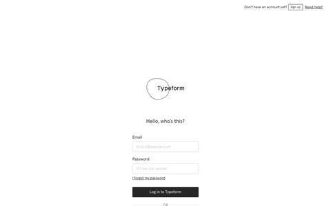 Screenshot of Login Page typeform.com - Log in | Typeform - captured Jan. 22, 2019