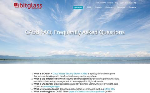 Screenshot of FAQ Page bitglass.com - CASB FAQ: Cloud Access Security Broker | Bitglass - captured Jan. 18, 2018