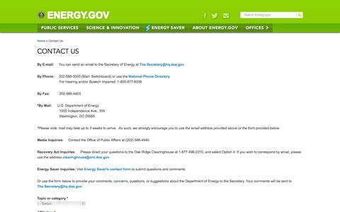 Screenshot of Contact Page energy.gov - Contact Us | Department of Energy - captured Sept. 18, 2014