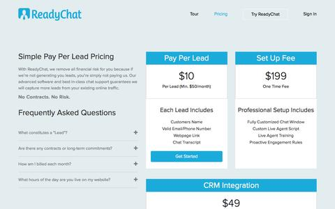 Screenshot of Pricing Page readychat.com - Pricing - Buy Real Estate Leads | ReadyChat - captured Aug. 27, 2016