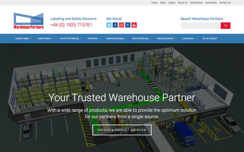Screenshot of Home Page warehouse-partners.co.uk - Warehouse Partners - Labelling and Safety Solutions - captured Oct. 19, 2017