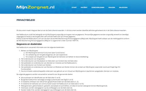 Screenshot of Privacy Page mijnzorgnet.nl - MijnZorgnet.nl - captured July 14, 2018