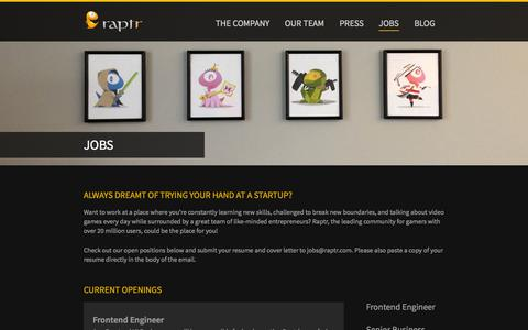 Screenshot of Jobs Page raptr.com - Jobs | Raptr - captured Sept. 17, 2014