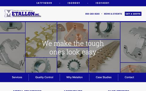 Screenshot of Home Page metallon.com - Metallon Precision Metal Stamping - We Make The Tough Ones Look Easy - captured Oct. 17, 2018