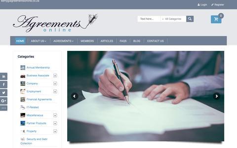 Screenshot of Home Page agreementsonline.co.za - Agreements Online - Agreements Online - captured May 29, 2017