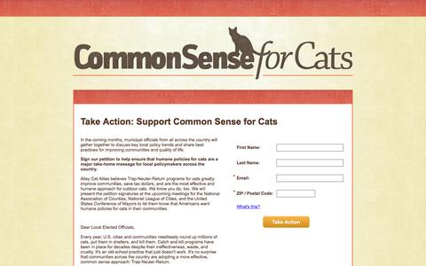 Screenshot of Landing Page alleycat.org - Common Sense for Cats Petition - Alley Cat Allies - captured Oct. 6, 2016