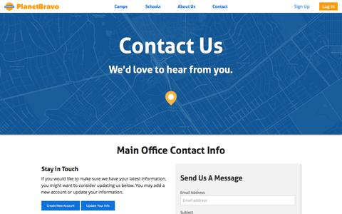 Screenshot of Contact Page planetbravo.com - PlanetBravo - Contact Us - captured July 21, 2015