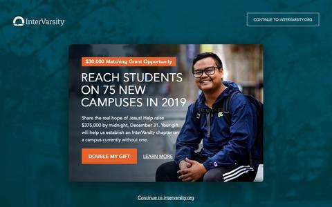 Screenshot of Home Page intervarsity.org - InterVarsity - captured Dec. 19, 2018