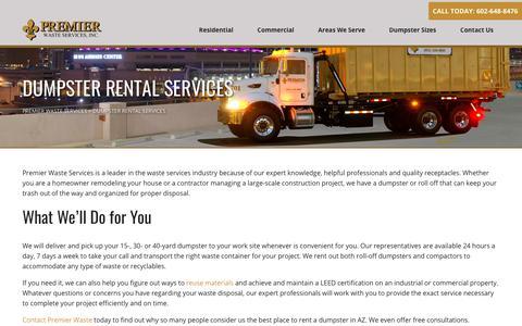 Screenshot of Services Page premierwasteservices.com - Dumpster Rental Services - Premier Waste Services Premier Waste Services - captured July 21, 2018