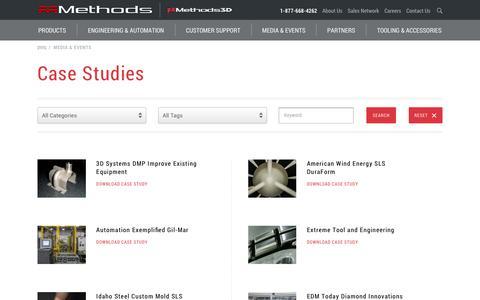 Screenshot of Case Studies Page methodsmachine.com - Case Studies - Methods Machine Tools - captured Oct. 10, 2017