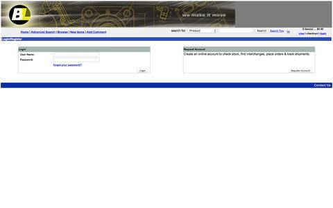 Screenshot of Login Page bearingslimited.com - Commerce Storefront b2b - captured Dec. 30, 2015