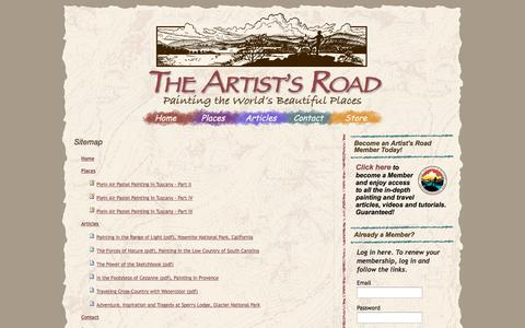 Screenshot of Site Map Page theartistsroad.net - The Artist's Road - captured Oct. 7, 2014