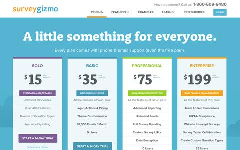 Screenshot of Pricing Page surveygizmo.com - Pricing | SurveyGizmo - captured Sept. 17, 2014