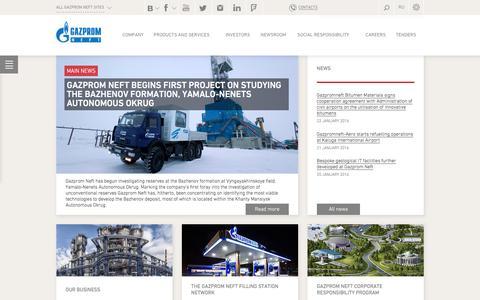 Screenshot of Home Page gazprom-neft.com - Gazprom Neft PJSC - captured Jan. 26, 2016