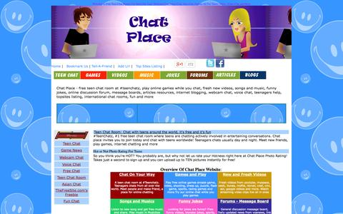 Screenshot of Home Page chat-place.org - Teen Chat - A place for teens - captured Sept. 19, 2014
