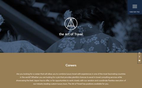 Screenshot of Jobs Page theartoftravel.net - Careers - The Art of Travel - captured Sept. 20, 2018