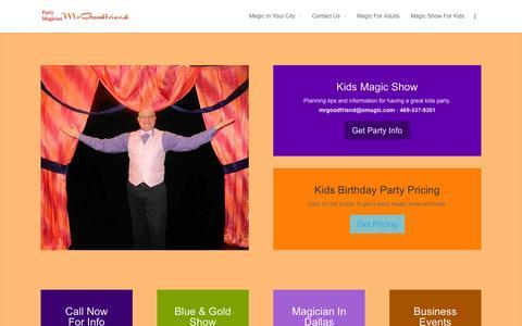 Screenshot of Home Page omagic.com - Dallas Magician — Derrel Allen is MrGoodfriend - Party Magician MrGoodfriend - captured Oct. 2, 2014