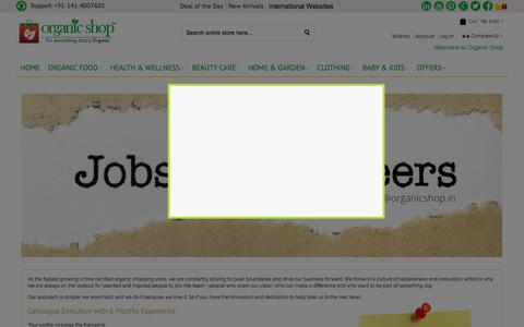 Screenshot of Jobs Page organicshop.in - Jobs Jaipur Start-ups, online business, organic marketplace | Organic Shop - captured Sept. 23, 2018