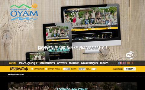 Screenshot of Home Page camping-oyam.com - Camping Pays Basque, cote basque - CAMPING OYAM - Bidart, Biarritz - captured Oct. 16, 2015