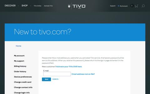 Screenshot of Signup Page tivo.com - New to tivo.com - TiVo - captured Nov. 17, 2015